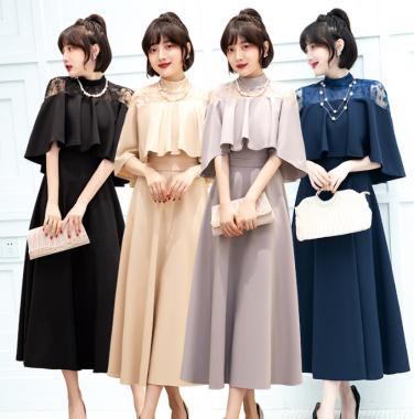結婚式や謝恩会に ケープ風レースが上品かわいいフレアスカートのロングドレス 4色