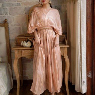 人気の海外デザイン 上品かわいい艶カラーのシフォンロングドレス ワンピース 2色