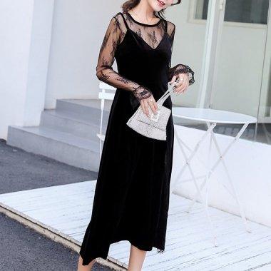 お呼ばれドレスにおすすめ 刺繍シースルーで上品セクシーな長袖のロングワンピース