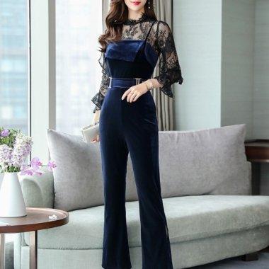 【即納】 Wフリルの刺繍レース袖が大人かわいいベロアパンツの上品セットアップ3Lサイズ