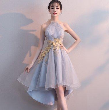 エレガントな刺繍デザイン 個性的でおしゃれなホルターネックのマーメイドドレス