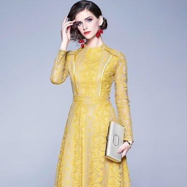 上品で繊細なレースデザイン エレガントな長袖ロングワンピース ドレス 2色