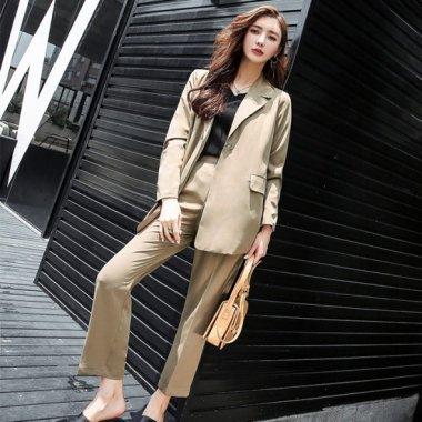 人気の海外デザイン 細ベルト付きビックジャケットとボトムスのパンツセットアップ 2色
