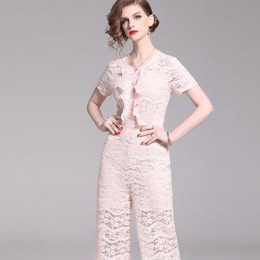 結婚式や二次会にも 上品かわいいフリルと総レースのパンツドレス オールインワン