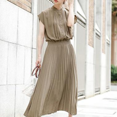 デイリーからお呼ばれまで 清楚かわいいプリーツスカートのロングワンピース 4色