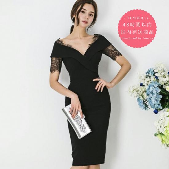 【即納】人気の海外デザイン 上品かわいいチラ見せレースの膝丈ワンピース ドレス