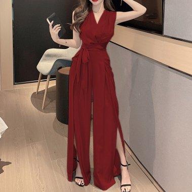 エレガントでおしゃれな海外デザイン ロングスリットのノースリーブパンツドレス オールインワン