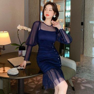 個性的でおしゃれな海外デザイン エレガントなプチドットのマーメードタイトドレス ワンピース
