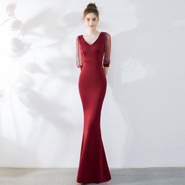 発表会や演奏会にもおすすめ エレガントな煌きビーズのマキシ丈ドレス 6色