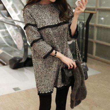 人気の海外デザイン オトナかわいいツイードの袖ありミニワンピース