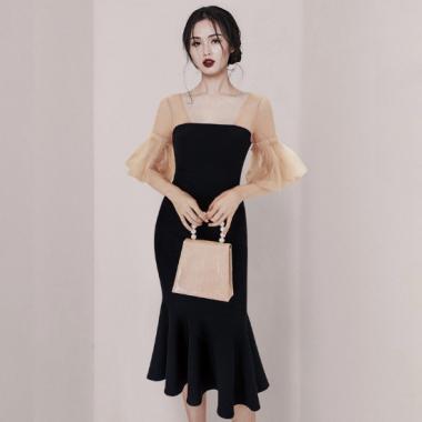 お呼ばれドレスに シフォン袖が大人かわいいマーメードスカートのタイトワンピース