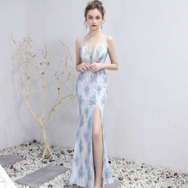 発表会や演奏会衣装にも ロングスリットがセクシーなエレガント刺繍マキシドレス