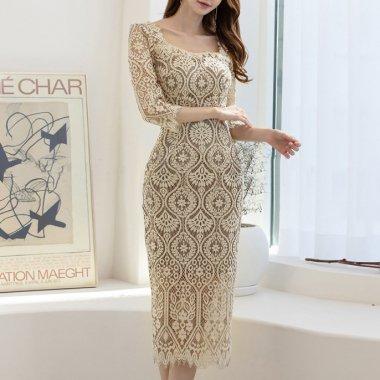人気の海外デザイン 上品かわいい繊細総レースのミディアムタイトワンピース ドレス