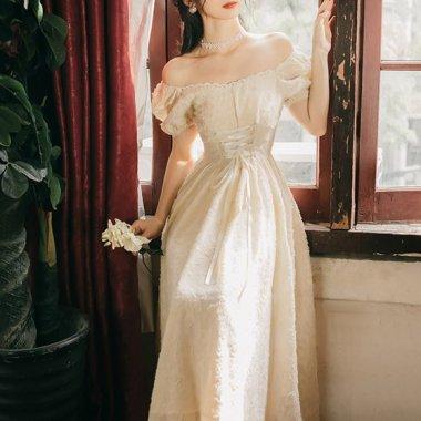 発表会や演奏会衣装にも 上品でガーリーなパフスリーブのフレアドレス ワンピース