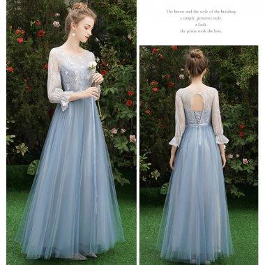 【即納】結婚式や謝恩会に フェアリーなチュールシフォン 長袖ロング丈ドレス
