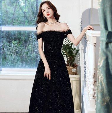 発表会や演奏会衣装にもおすすめ ゴージャスな煌きのオフショルマキシ丈黒ドレス