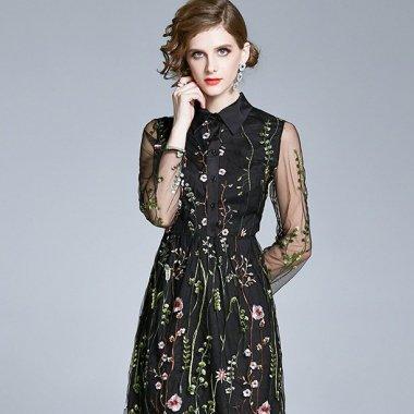 結婚式や二次会に 人気のボタニカル刺繍がおしゃれなシースルー袖のフレアシャツワンピース ドレス