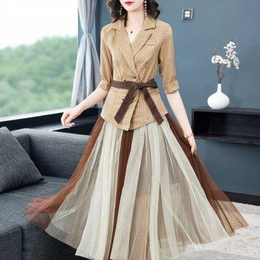 個性的でおしゃれな海外デザイン マルチカラーのシフォンがかわいいスカートセットアップ