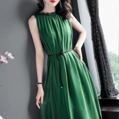 オトナ女子のお呼ばれスタイル エレガントなギャザーシフォンのロングワンピース ドレス 2色