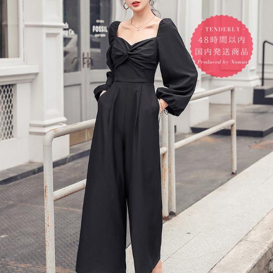 【即納】結婚式や二次会に エレガントなツイストギャザーの黒パンツドレス オールインワン