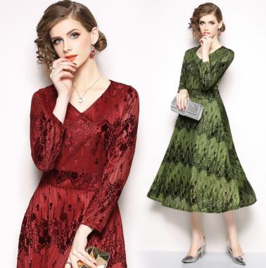 結婚式や二次会に エレガントな小花柄レースの長袖ロングワンピース ドレス 3色