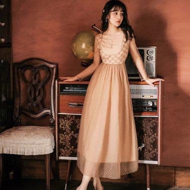 個性的ガーリーな海外デザイン 総柄フレアシフォンの長袖ロングドレス ワンピース