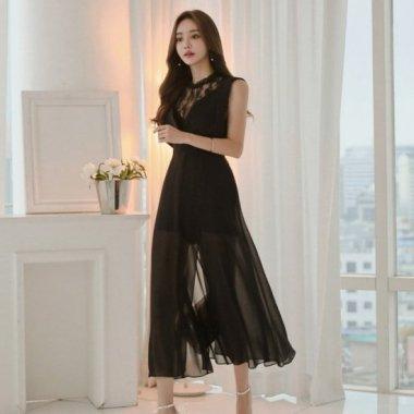 個性的でセクシーな大人スタイル バックシャンがおしゃれなスリット黒ロングドレス