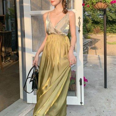 後ろ姿までおしゃれな エレガントなバイカラーのバックシャンロングドレス ワンピース