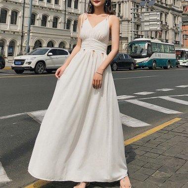 360度おしゃれなバックシャン 上品セクシーなキャミソールのロング白ドレス ワンピース