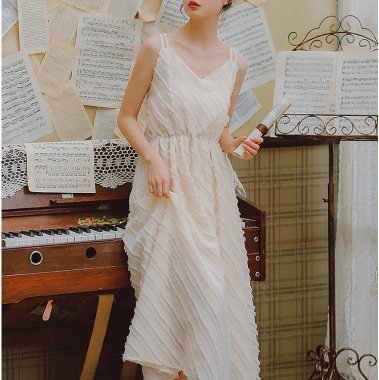 大人ガーリーな海外デザイン フリンジストライプのキャミソールワンピース ドレス
