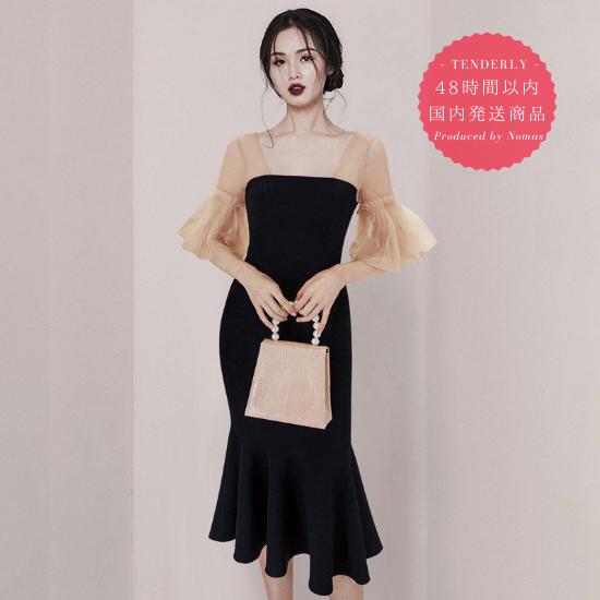 【即納】お呼ばれドレスに シフォン袖が大人かわいいマーメードスカートのタイトワンピース