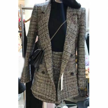 【即納】大きめグレンチェック ジャケットとミニスカートのセットアップ スーツ/Mサイズ
