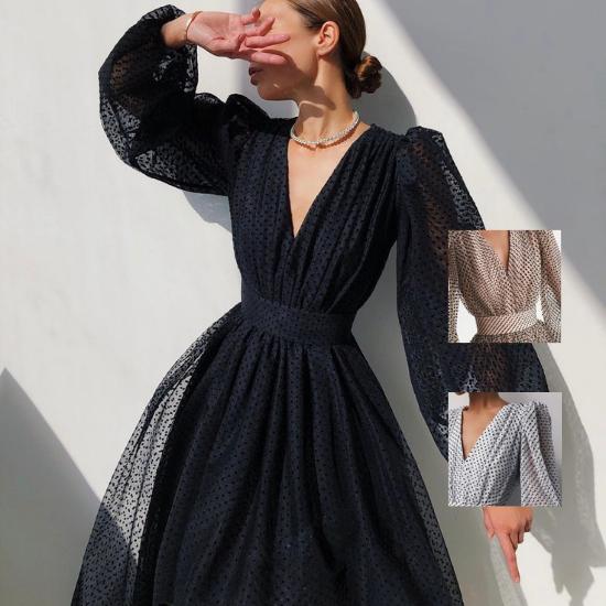 個性的でおしゃれな海外デザイン バルーン袖がかわいいドット柄ロングワンピース ドレス 3色