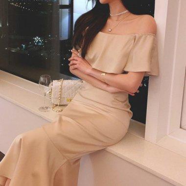お呼ばれドレス 大人かわいいフリルオフショルのマーメイドロングドレス ワンピース