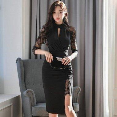 人気の黒ドレス エレガントなレースドッキングのタイトスリット黒ワンピース