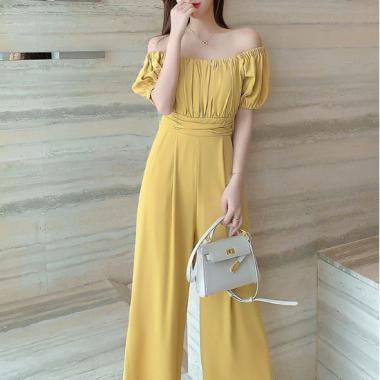2way使える人気デザイン ギャザートップのオフショルパンツドレス オールインワン 3色