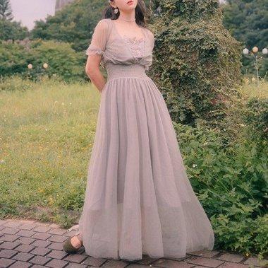 リゾートウエディングやカラードレスにも 上品ガーリーなフレアシフォンのマキシドレス 2色