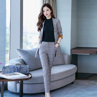 個性的でおしゃれなカフスデザイン 美シルエットなチェック柄パンツスーツ セットアップ 3色