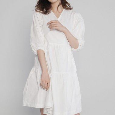シンプルかわいいティアードデザインバルーン袖の膝丈ギャザーワンピース 2色