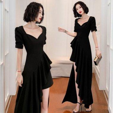 謝恩会やパーティーに 個性的なアシメスカートのフリルロングドレス ワンピース 3色
