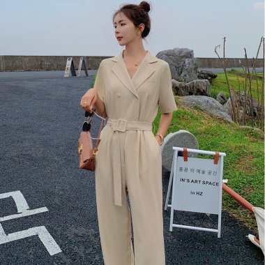 きれいめカジュアルな海外デザイン ベルト付き半袖パンツオールインワン パンツドレス