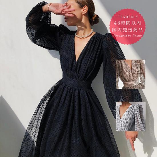 【即納】個性的でおしゃれな海外デザイン バルーン袖がかわいいドット柄ロングワンピース ドレス 3色