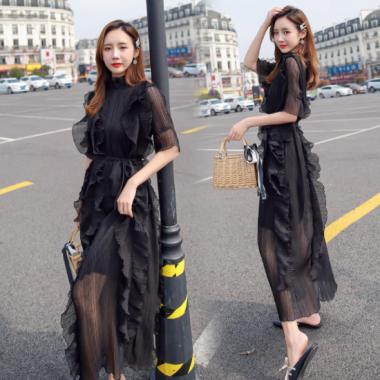 個性的でおしゃれな海外ドレス ボリューミーなフリルシフォンの袖ありロングワンピース 2色