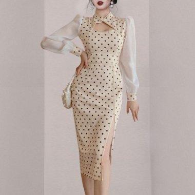 個性的でおしゃれな異素材MIX レトロかわいいドット柄の膝丈長袖ドレス ワンピース