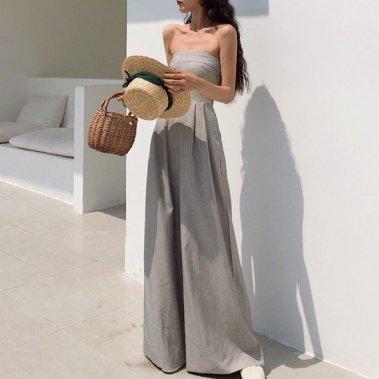 オトナ女子のお呼ばれスタイルに エレガントなワイドパンツのベアトップオールインワン パンツドレス