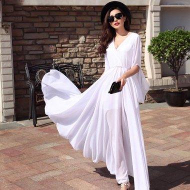 シンプルエレガントな大人デザイン  フェミニンな透け感のマキシ丈袖ありドレス ワンピース 3色