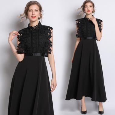 人気の海外デザイン エレガントなレースドッキングの切り替えロング黒ワンピース ドレス