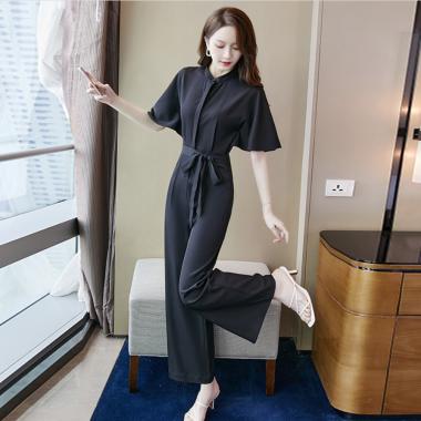 デイリーからお呼ばれまで シンプルかわいい黒のマキシ丈半袖オールインワン パンツドレス