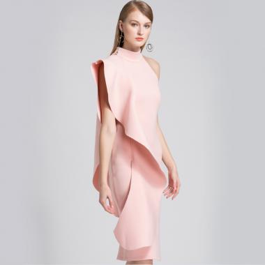 個性的でエレガントなおしゃれデザイン アシメフリルの膝丈ドレス ワンピース 2色