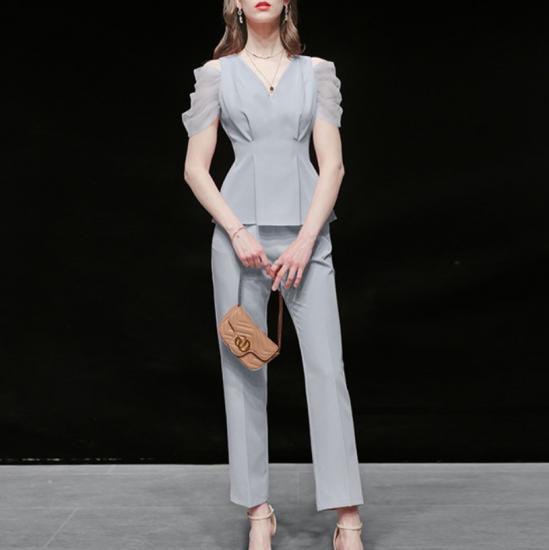 結婚式や二次会に人気 オープンショルダーのシフォン袖がおしゃれなパンツドレス セットアップ 2色